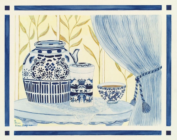 """Chinoiserie / Blue and White """"Tea By The Window""""  / Giclee Print / Watercolor"""