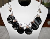 Sardonyx Circles accented by Smokey Quartz - Moonstone and Pearls on a Sterling Silver Chain Necklace