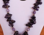 Dark Amethyst Spears - Charoite Beads and Sterling Necklace - VintageClasp