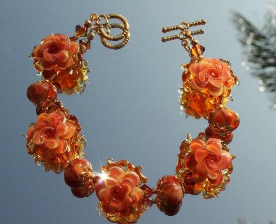 Peach Lampwork Flower Beads and Swarovski Crystals Bracelet and Earrings