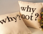 Hand Stamped Pillow Covers - Why - Why Not