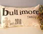 Family Name and Year Established Customized Pillow Cover