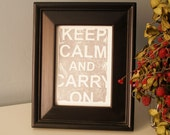 Keep Calm and Carry On Lino Block Print - Silver
