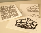 Trio of Keep Calm and Carry On Lino Block Prints - Silver and Black