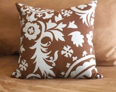 Modern Blue and Brown Floral Designer Fabric Pillow Cover - NEW ARRIVAL - Limited Quantity