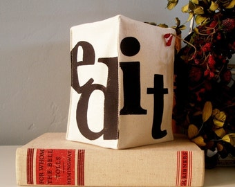 Hand Stamped Fabric Bookend - Edit
