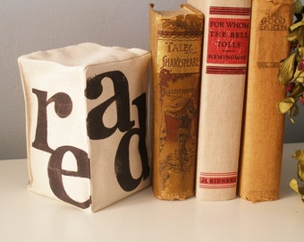 Hand Stamped Fabric Bookend - Read