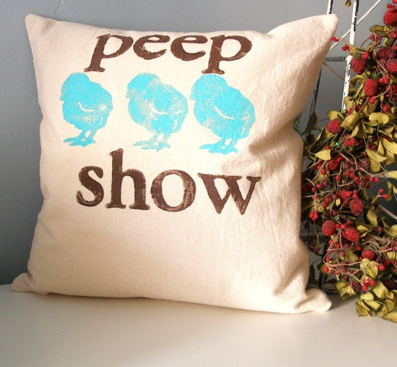 peep show - Hand Stamped Pillow Cover - turquoise and brown