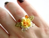 Flower Bouquet Beaded Baroque Adjustable Ring - Yellow Rose and Green Leaves - Art Nouveau Inspired
