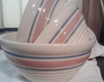 Vintage Mixing and Serving Bowls, Cream with Light Pink and Blue Stripe