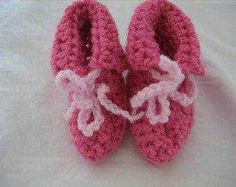 Crocheted Booties, 0 to 3 Month , Baby Shower Gift, Pink, Girl