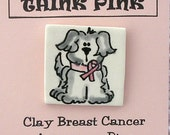 Shaggy Dog With Pink Ribbon In Clay Original