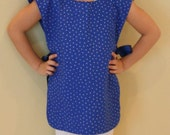SALE - 50 percent off - Adorable Blue Star Art Smock with Reversible Machine Washable -FREE SHIPPING
