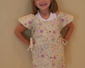 SALE - 50 Percent Off - Childs Art Smock - Yellow with Circle Print - Adorable Eco Friendly - FREE SHIPPING