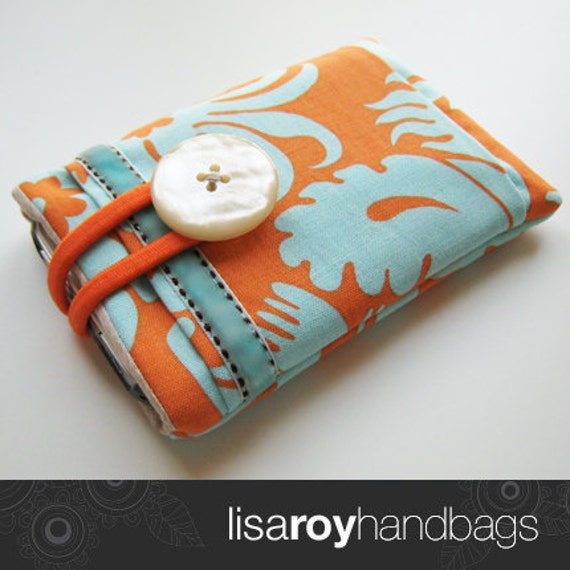 Jo iPhone/iPod/cell phone case in padded amy butler orange and aqua