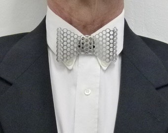 """Metal Neck Bow Tie, Aluminum, Perforated 3/16"""" (5 mm) Holes"""