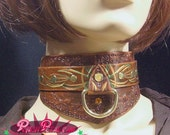 Steampunk Leather and Brass Choker / Collar