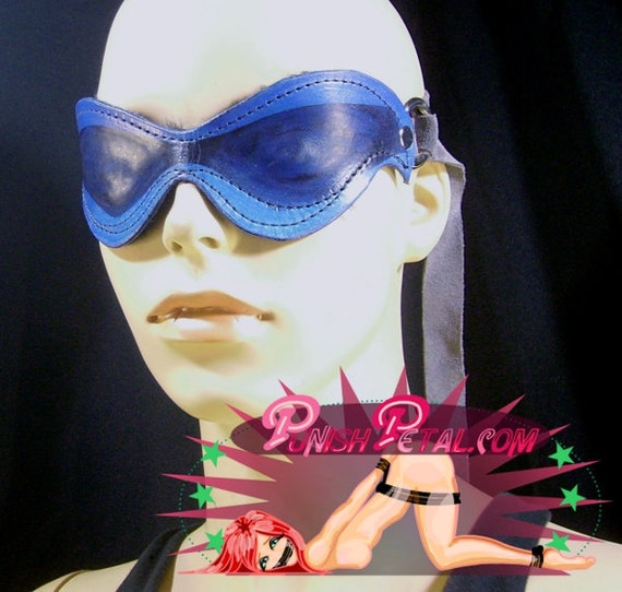 CLEARANCE SALE: Blue Leather Blindfold