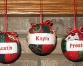 Three Christmas Ornament Personalized by CraftCrazy4U