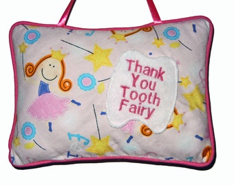 Pink Tooth Fairy Pillow with Ribbon Hanger and Tooth Pocket Great for Kids Children Birthday Gift Idea by CraftCrazy4U