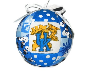 University Of Kentucky Wildcats Christmas Ornament Quilted Fabric Ornament Holiday Home Decor Kentucky Blue and White  by CraftCrazy4U