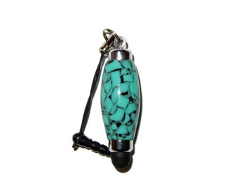Turquoise TruStone Mini Stylus with Rubber Tip Used on Iphone, Ipad, Gift by CraftCrazy4u on Etsy