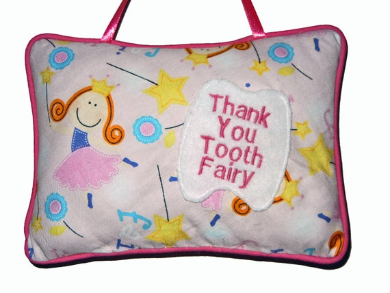 Pink Tooth Fairy Pillow, Ribbon Hanger, Tooth Pocket, Great for Kids Children Christmas Gift Idea by CraftCrazy4U on Etsy