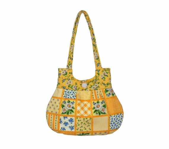 Summer Handbag Yellow Blue Gold Flowers Curvy Classy Purse Tote Everyday Bag