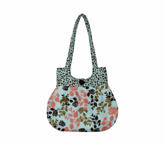 Handbag  Everyday Purse Pale Blue Coral Brown Fabric