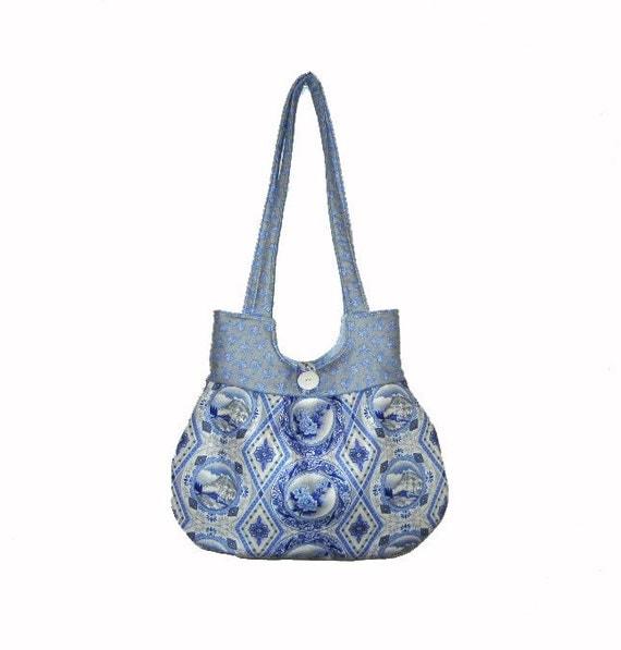Sweet Pea Tote Purse Handbag Blue and Gray Print Summer Everyday Shoulder Bag Christmas Holiday Gift Idea