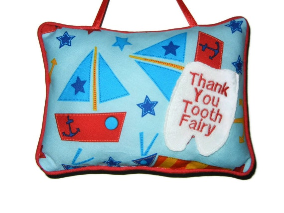 Tooth Fairy Pillow with Pocket Sail Boat for Boys in Preschool, Kindergarten, Holiday Christmas Gift Idea