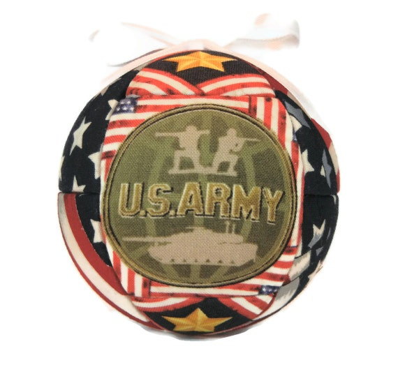 US Army Patriotic Handmade Christmas Ornament Handcrafted Quilted Ornament  Kimekomi Fabric Ornament Holiday Home Decor by CraftCrazy4U