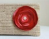 Tan Woven Clutch Handbag with Handmade Coral Satin Flower