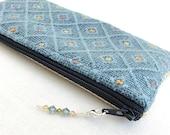 Indigo Zippered Bag / Indigo Blue Yellow Ivory Pouch / Beaded Zipper Pull