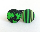 Ponytail Holder Set of 2 / St. Patrick's Day / Green and Black / Shamrocks and Stripes