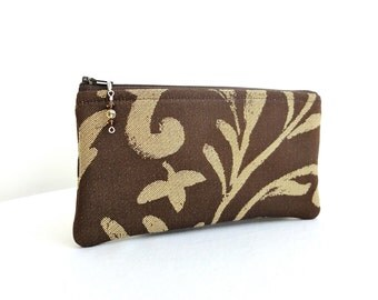 Brown Scroll Clutch / Zippered Bag with Beaded Pull - READY TO SHIP