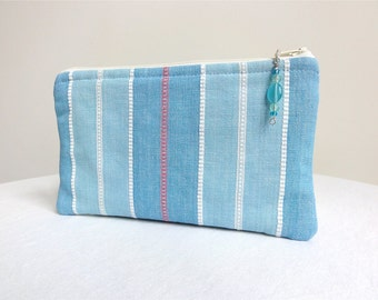 Pale Blue Striped Clutch / Zippered Bag with Beaded Pull - READY TO SHIP