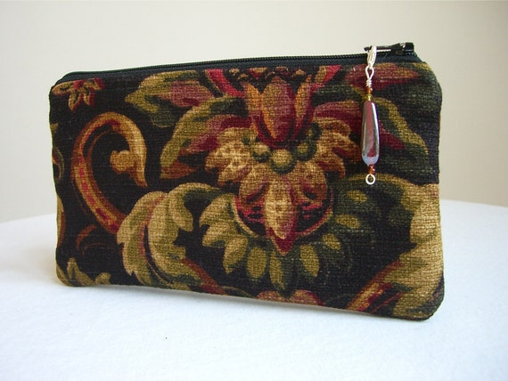 Damask Clutch / Zippered Bag with Beaded Pull