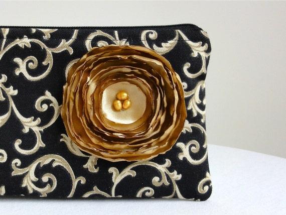 Wristlet Bag - Black & Cream Scroll / Gold Satin Flower