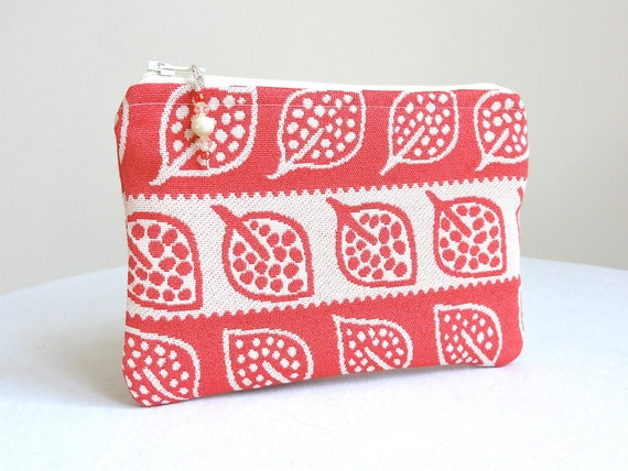 Ivory and Coral Clutch in Leaf and Polka Dot / Beaded Zipper Pull