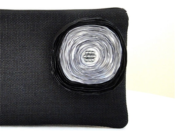 Black Woven Clutch with Silver and Black Satin Flower