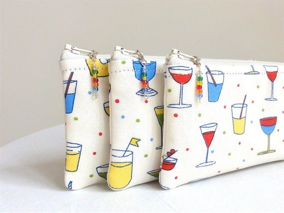 Cheers Cocktail Zippered Pouch Bags Party Favors - Set of 3