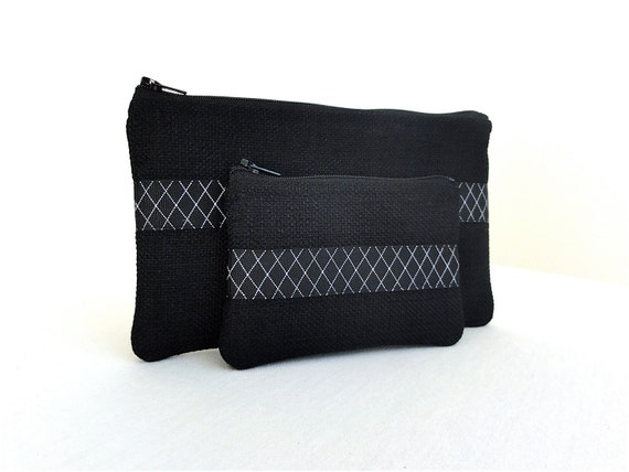 Black Zippered Pouches with Black and White Check Ribbon -  Set of 2 Zippered Bags