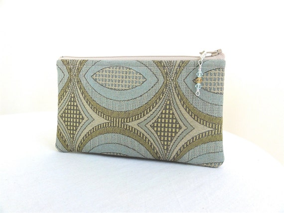 Pale Blue / Tan Geometric Zippered Bag with Beaded Zipper Pull