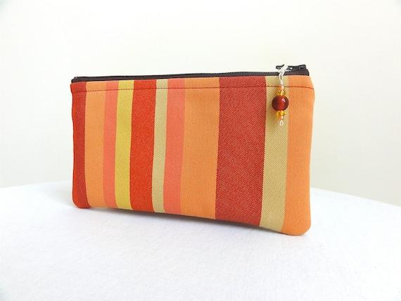Cosmetic Bag / Zippered Bag - Red, Orange & Yellow Stripe