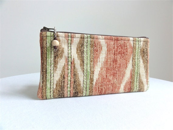 Stripe Clutch Purse / Earth Tones - Brown, Terra Cotta and Ecru - READY TO SHIP
