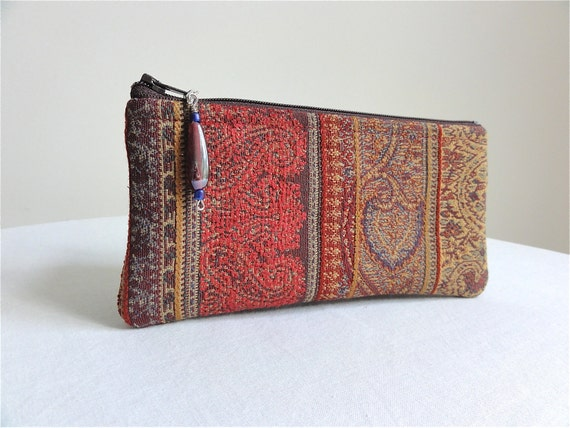 Red Wine Zippered Pouch / Cosmetic Bag