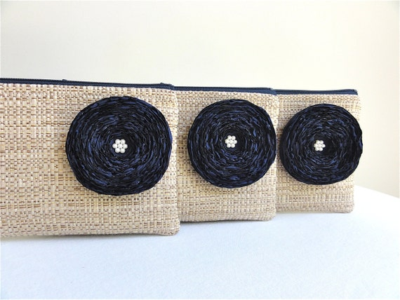 Reserved for Kristen - 3 Tan Woven Clutches / Navy Fabric Flowers