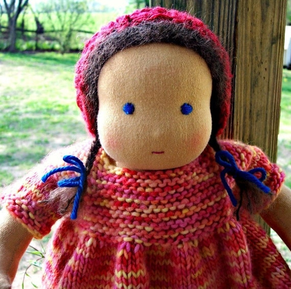 12 inch Waldorf doll natural wool doll