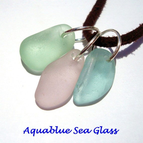 3  Drilled Medium /  Large Sea Glass Charms   Aqua, Lavender And Pale Green   (234)